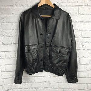 Guy Laroche Bomber Leather Jacket 💙